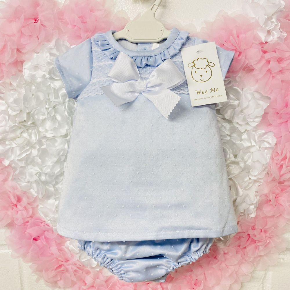 Baby Girl Spanish Blue Silky Frilly Collar Lace Dress